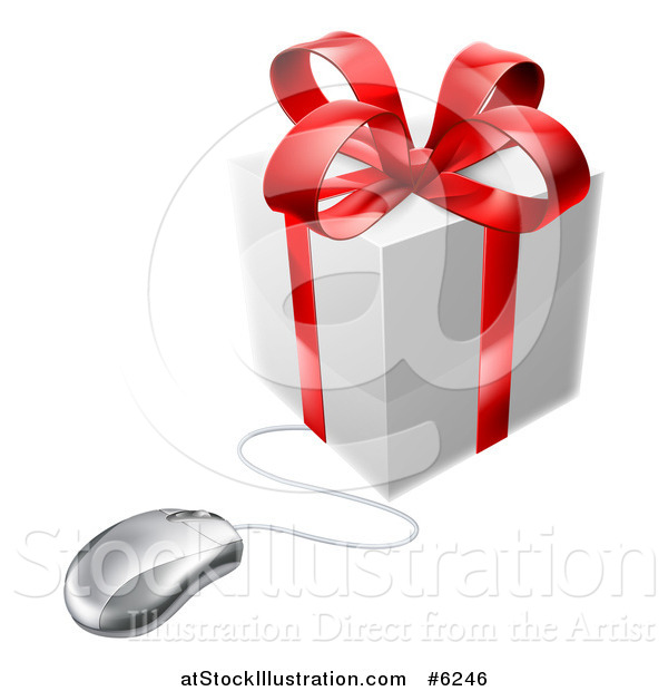 Vector Illustration of a 3d Gift Box with a Red Bow Wired to a Computer Mouse