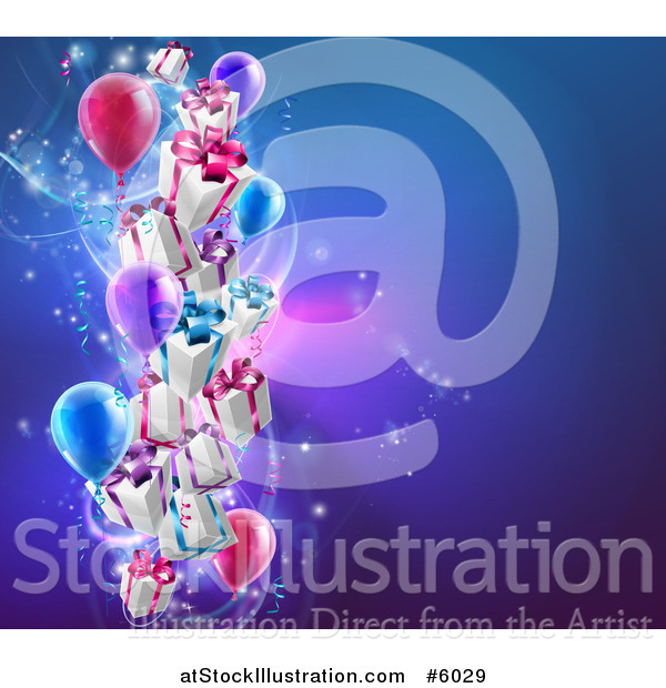 Vector Illustration of a 3d Gift Boxes and Party Balloons over a Blue Background