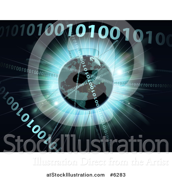 Vector Illustration of a 3d Globe over a Burst and Binary Code Data