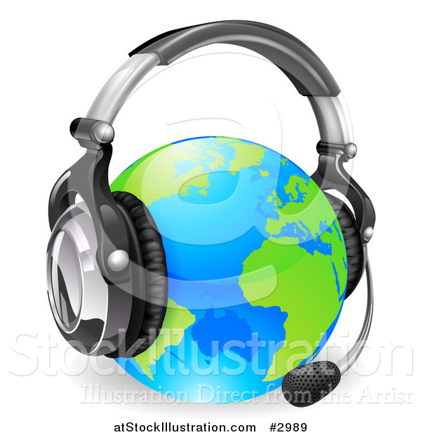 Vector Illustration of a 3d Globe Wearing a Customer Service Headset