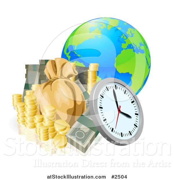 Vector Illustration of a 3d Globe with Money and a Clock