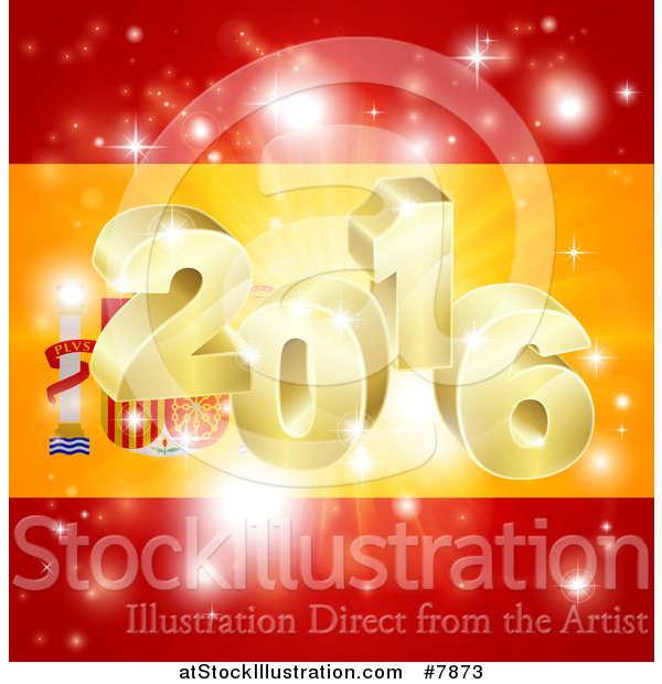 Vector Illustration of a 3d Gold 2016 Burst and Fireworks over a Spanish Flag