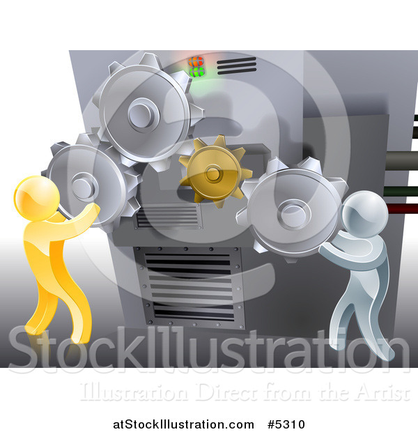 Vector Illustration of a 3d Gold and Silver Men Adjusting Gear Cogs Ona Machine