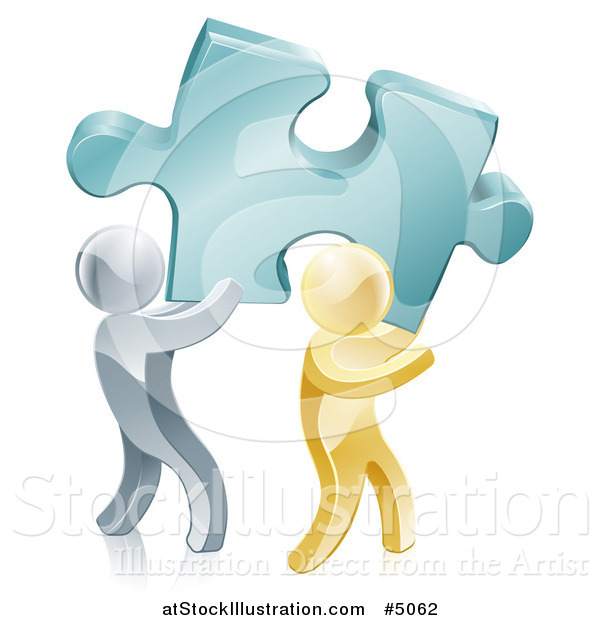 Vector Illustration of a 3d Gold and Silver Men Carrying a Large Solution Puzzle Piece