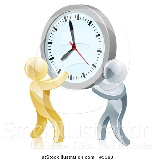 Vector Illustration of a 3d Gold and Silver Men Holding up a Clock