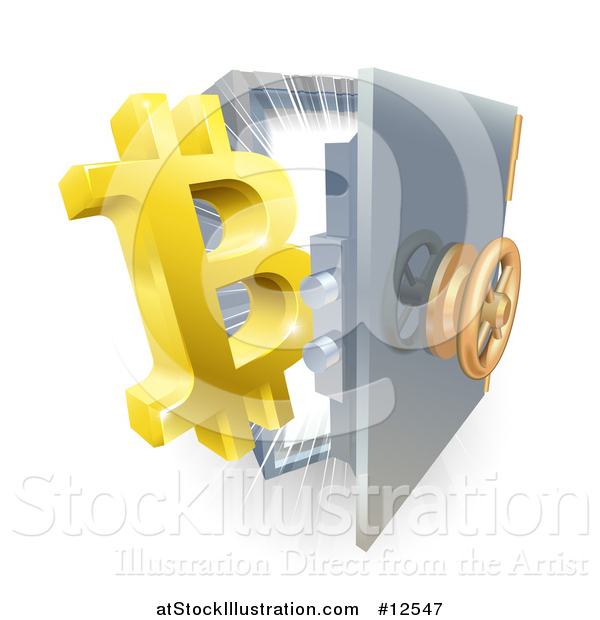 Vector Illustration of a 3d Gold Bitcoin Currency Symbol and Light Emerging from a Vault