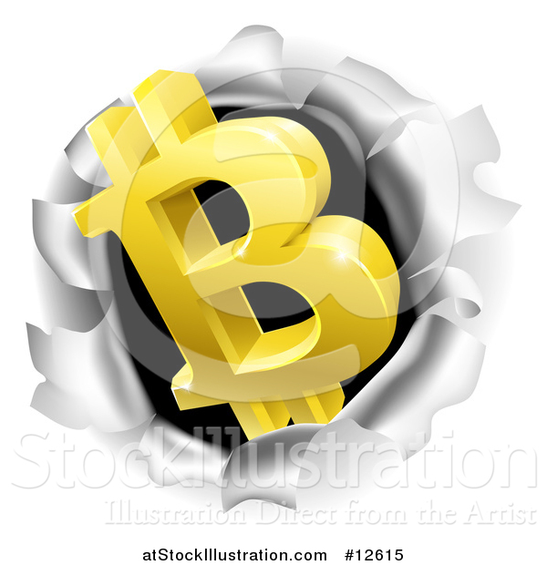 Vector Illustration of a 3d Gold Bitcoin Currency Symbol Breaking Through a Hole in a Wall