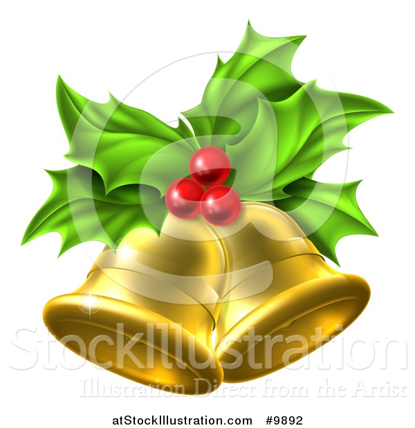 Vector Illustration of a 3d Gold Christmas Bells Holly and Berries
