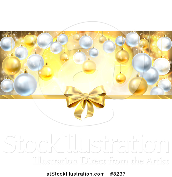 Vector Illustration of a 3d Gold Christmas, Birthday or Other Holiday Gift Bow and Ribbon over Baubles with Gold and White