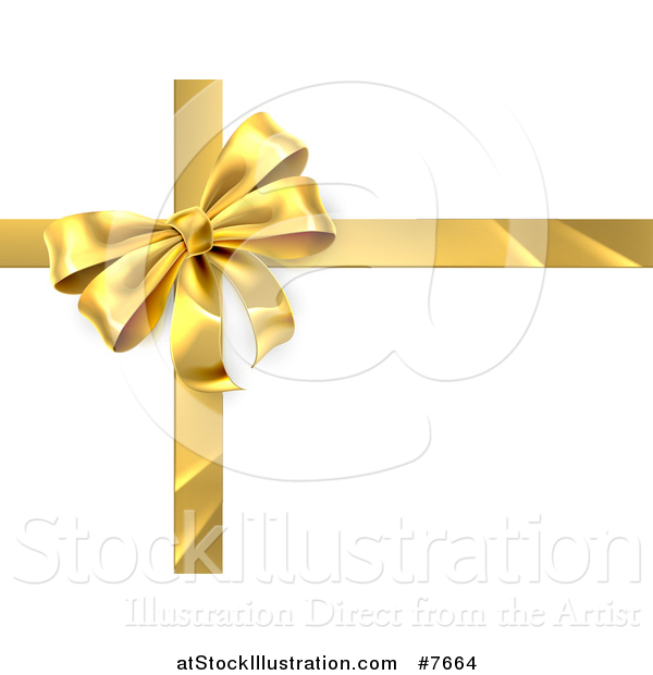 Vector Illustration of a 3d Gold Christmas, Birthday or Other Holiday Gift Bow and Ribbon over Shaded White