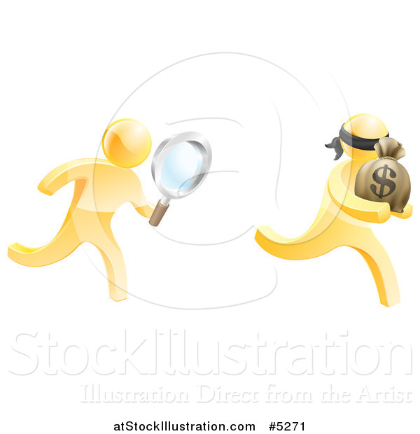 Vector Illustration of a 3d Gold Detective Chasing a Thief with a Magnifying Glass