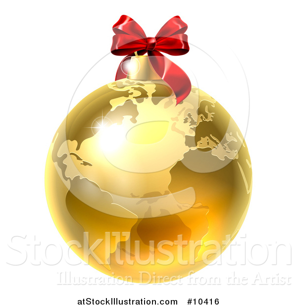 Vector Illustration of a 3d Gold Earth Globe Christmas Bauble with a Red Bow