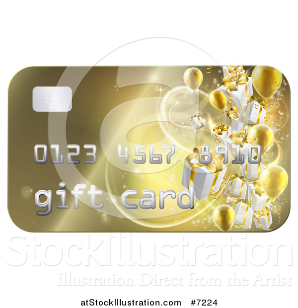 Vector Illustration of a 3d Gold Gift Card with Presents and Balloons