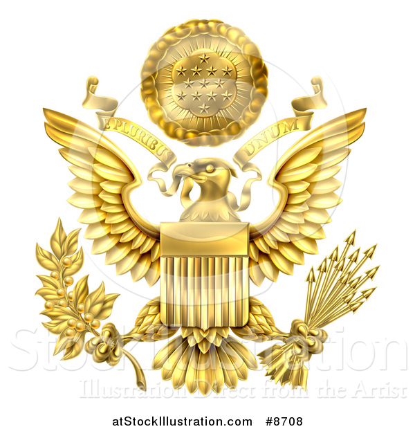 Vector Illustration of a 3d Gold Great Seal of the United States with a Bald Eagle Holding an Olive Branch and Arrows, an American Flag Body and E Pluribus Unum Scroll and Stars over His Head