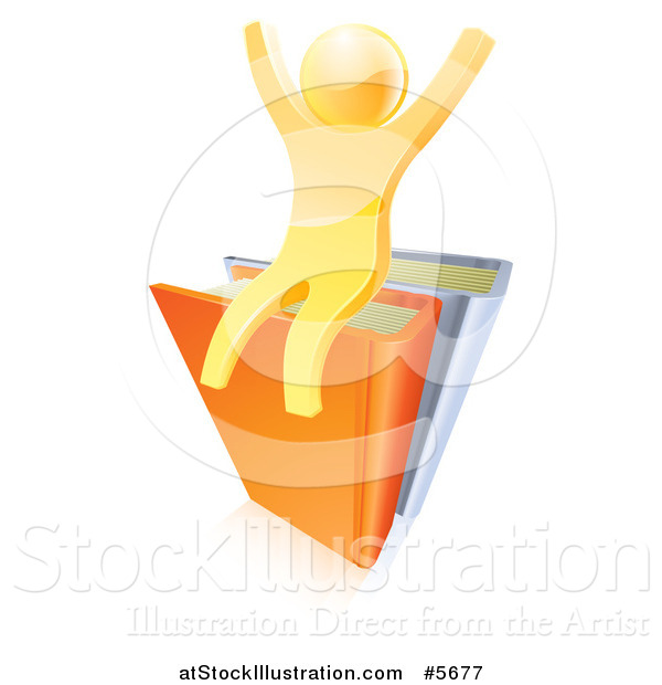 Vector Illustration of a 3d Gold Guy Cheering on Books