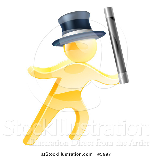 Vector Illustration of a 3d Gold Magic Man Holding up a Wand