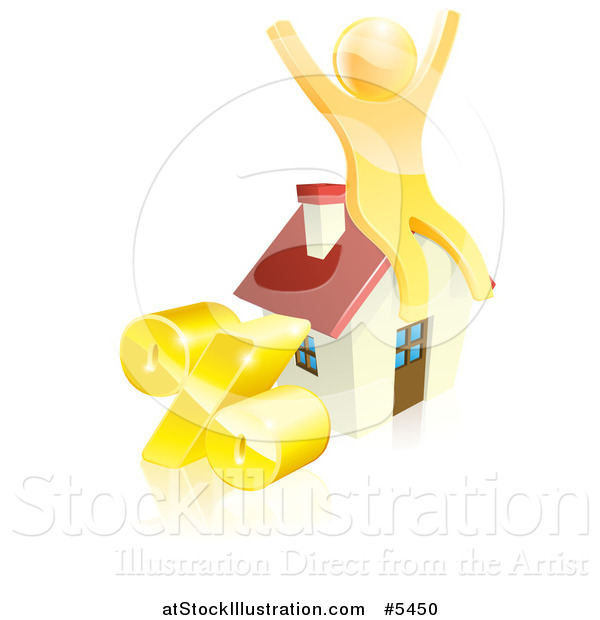 Vector Illustration of a 3d Gold Man Cheering on a House by a Percent Symbol