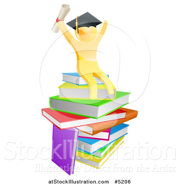 Vector Illustration of a 3d Gold Man Graduate Cheering with a Diploma on Books