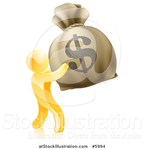 Vector Illustration of a 3d Gold Man Holding up a Large Dollar Money Bag