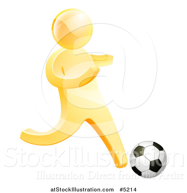 Vector Illustration of a 3d Gold Man Playing Soccer
