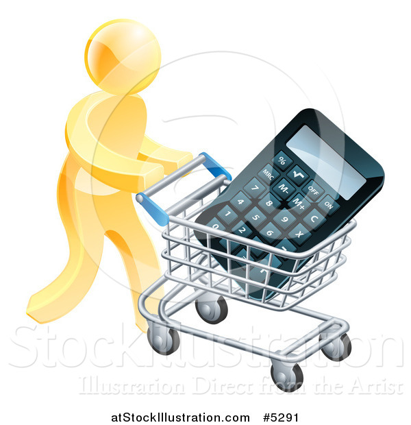 Vector Illustration of a 3d Gold Man Pushing a Calculator in a Shopping Cart