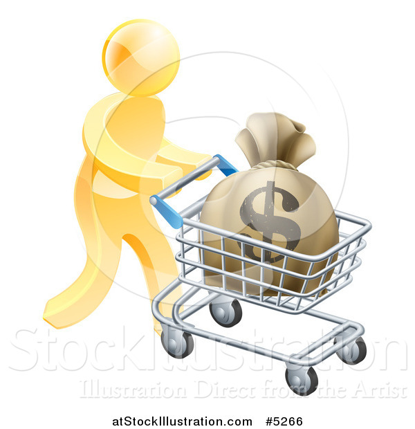 Vector Illustration of a 3d Gold Man Pushing a Money Bag in a Shopping Cart
