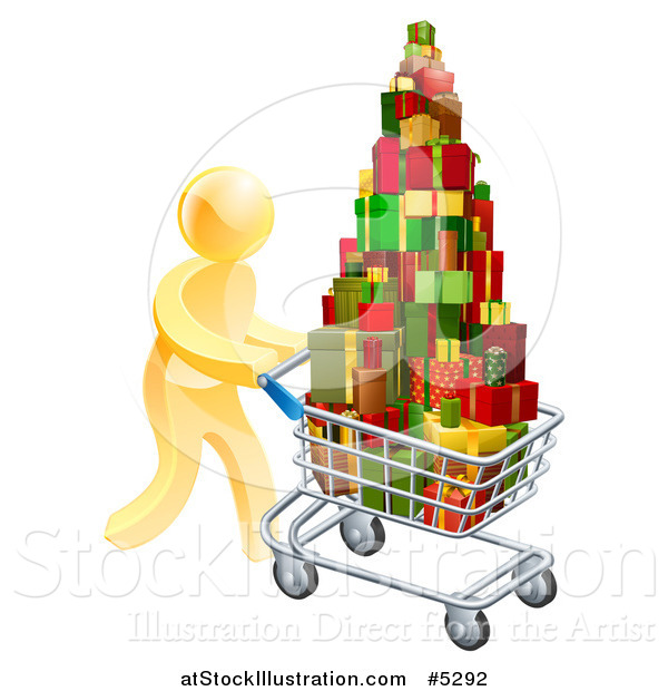Vector Illustration of a 3d Gold Man Pushing a Shopping Cart Full of Presents