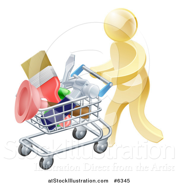 Vector Illustration of a 3d Gold Man Pushing a Shopping Cart Packed with Tools