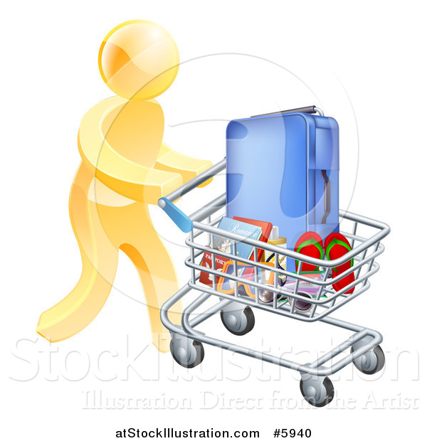 Vector Illustration of a 3d Gold Man Pushing Travel Accessories in a Shopping Cart