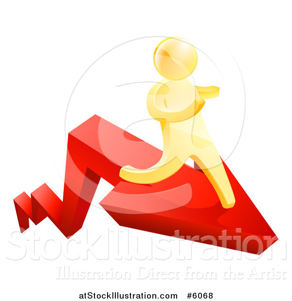 Vector Illustration of a 3d Gold Man Running on a Red Arrow