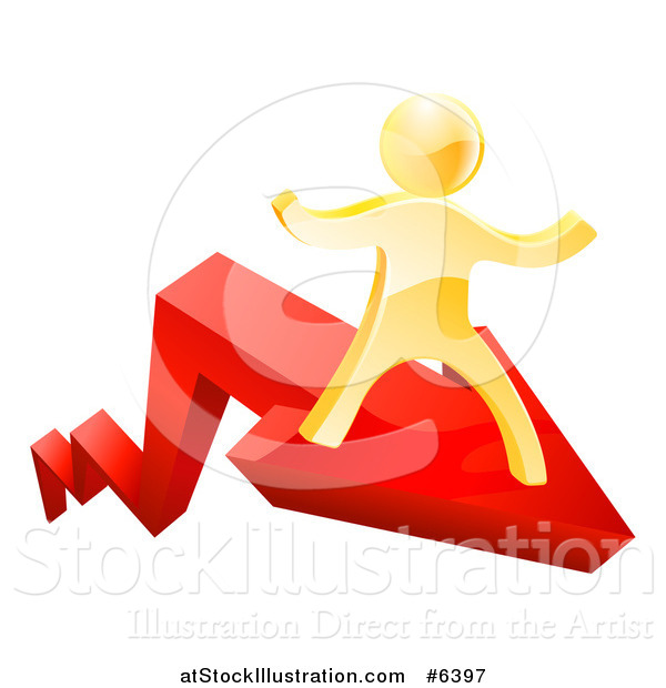 Vector Illustration of a 3d Gold Man Running on a Red Growth Arrow