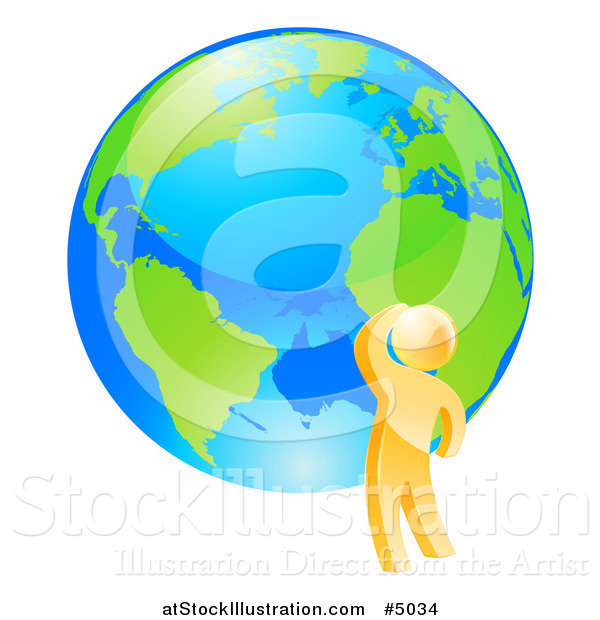 Vector Illustration of a 3d Gold Man Thinking by an Earth Globe