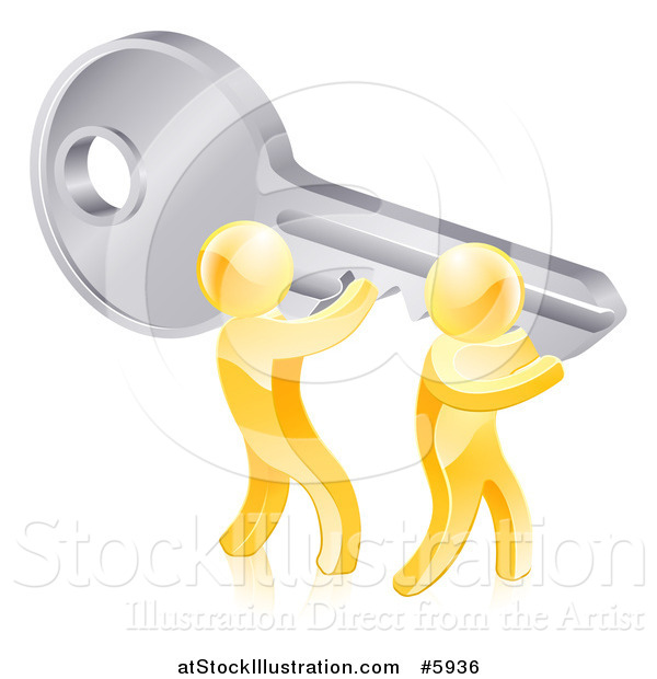Vector Illustration of a 3d Gold Men Holding up a Giant Key