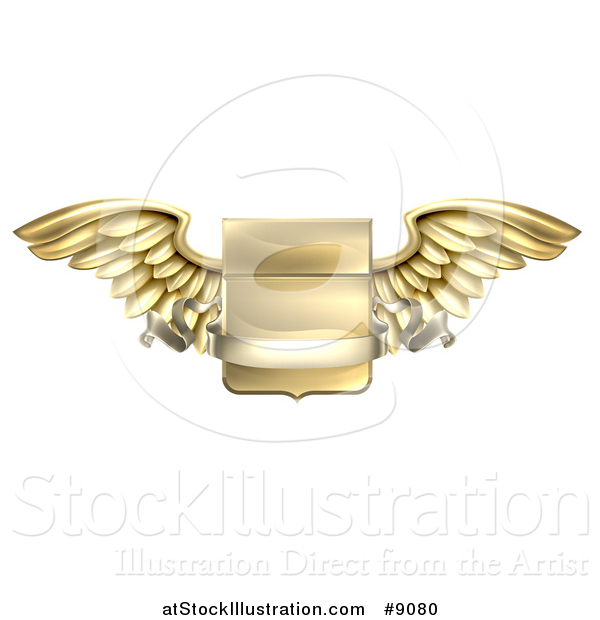 Vector Illustration of a 3d Gold Metal Heraldic Winged Shield with a Blank Banner Ribbon