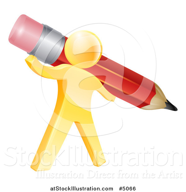 Vector Illustration of a 3d Gold Person Holding a Giant Red Pencil