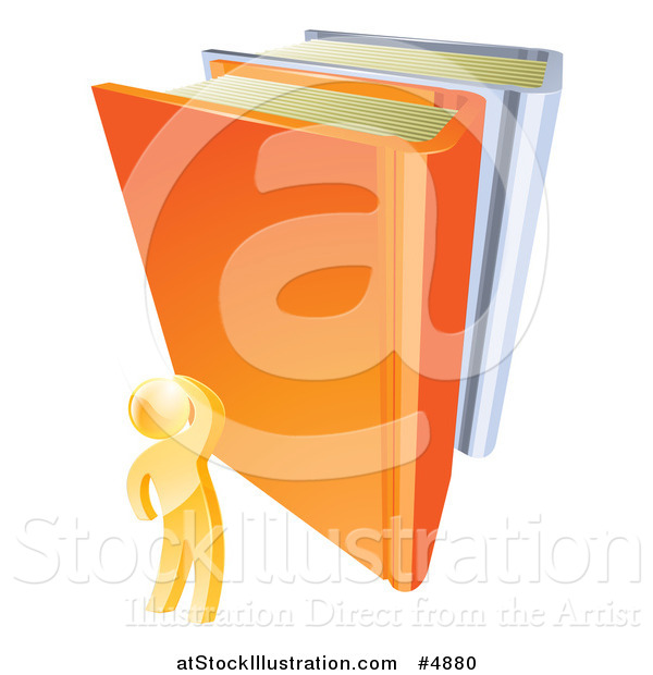 Vector Illustration of a 3d Gold Person Looking up at Giant Books