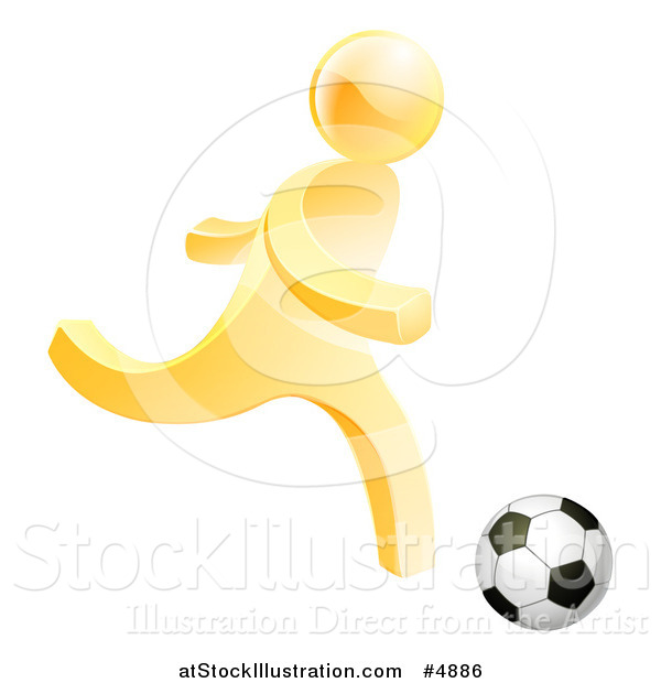 Vector Illustration of a 3d Gold Person Playing Soccer