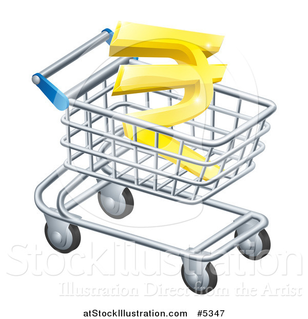 Vector Illustration of a 3d Gold Rupee in a Shopping Cart