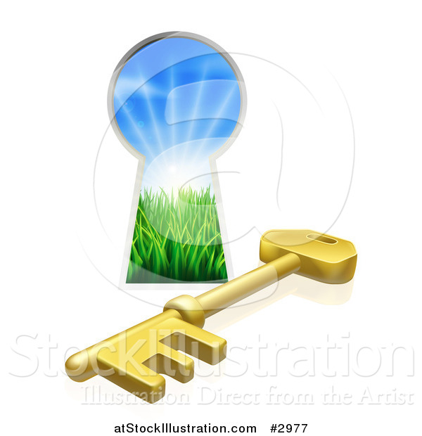Vector Illustration of a 3d Gold Skeleton Key and Hole with Sunshine and Grass