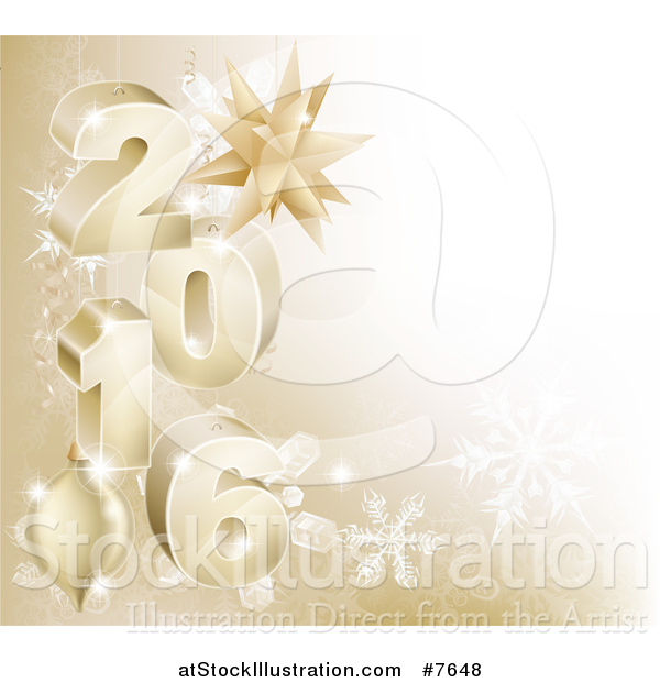 Vector Illustration of a 3d Gold Snowflake Background with Year 2016 and Baubles
