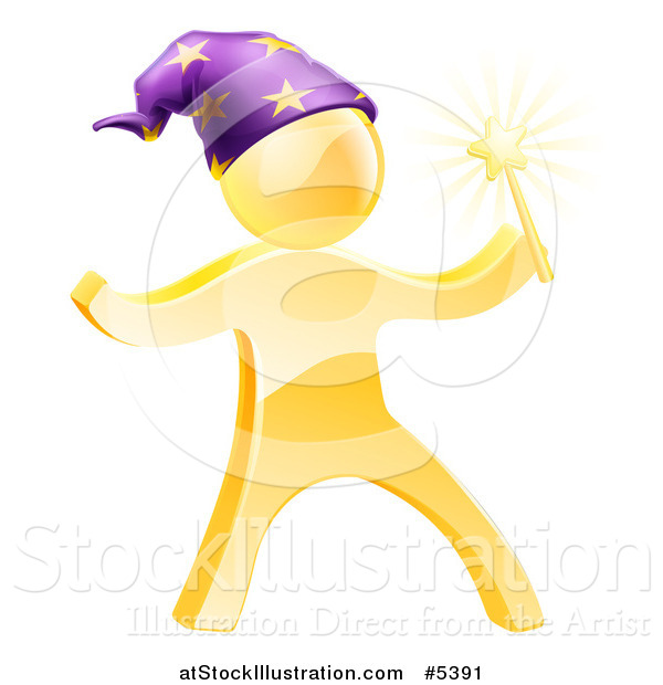 Vector Illustration of a 3d Gold Wizard Man with a Magic Wand and Hat