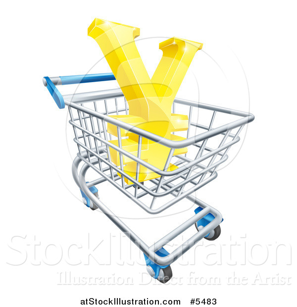 Vector Illustration of a 3d Gold Yen with a White Outline, in a Shopping Cart