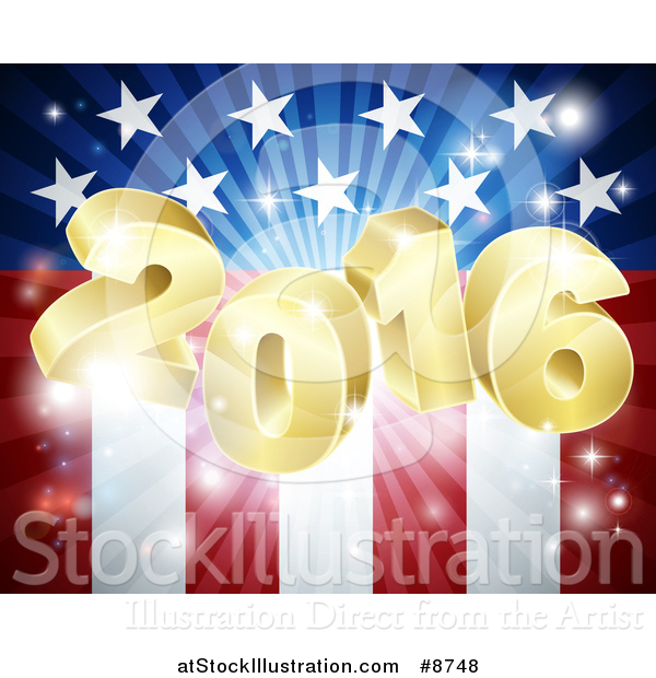 Vector Illustration of a 3d Golden 2016 Burst over an American Flag and Fireworks