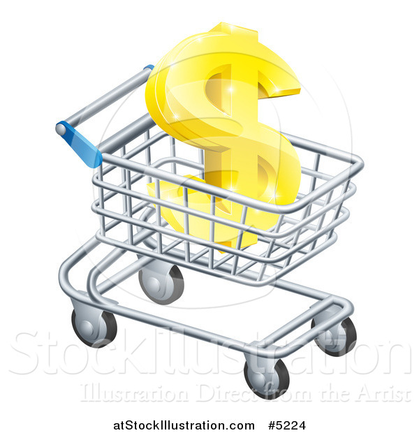 Vector Illustration of a 3d Golden Dollar Symbol in a Shopping Cart