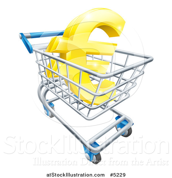 Vector Illustration of a 3d Golden Euro Currency Symbol in a Shopping Cart