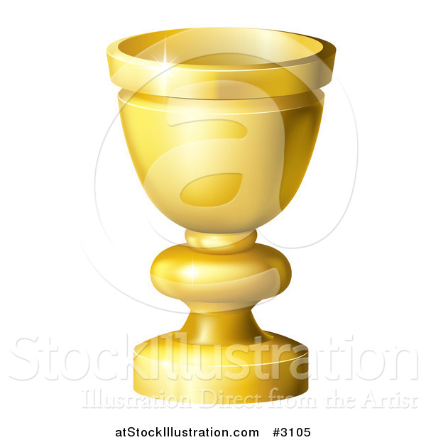 Vector Illustration of a 3d Golden Goblet or Grail