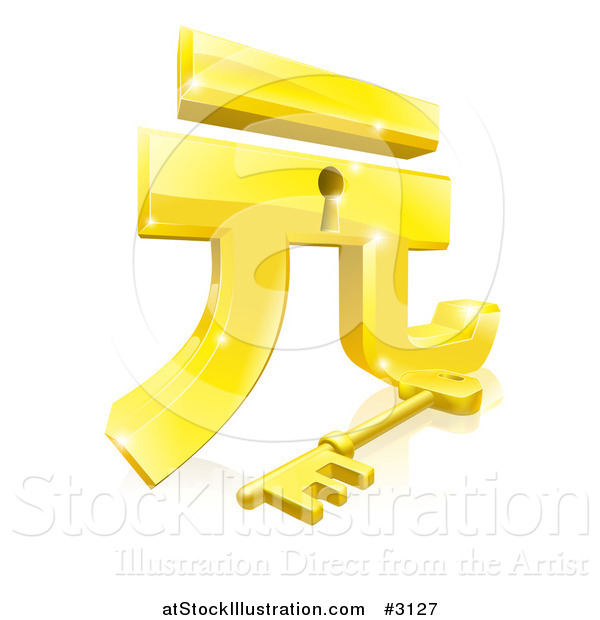Vector Illustration of a 3d Golden Gold Yuan Lock and Key with a Reflection
