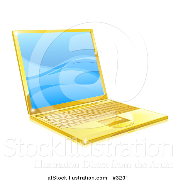 Vector Illustration of a 3d Golden Laptop with Blue Waves on the Screen