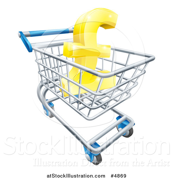 Vector Illustration of a 3d Golden Lira Pound Symbol in a Shopping Cart