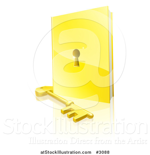 Vector Illustration of a 3d Golden Padlock Book and Skeleton Key with a Reflection